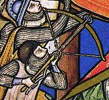 """Bibbia Maciejovski """"The city of Hai is captured and its King is hanged"""", dettaglio. Altro esempio delle modalità di imbraccio della balestra"""