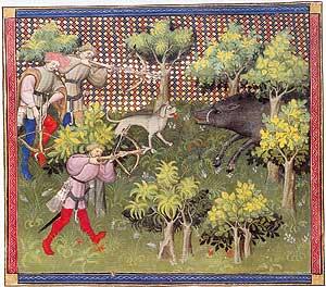 """Scena di caccia tratta dal """"Libro Della Caccia Di Gaston Phoébus 1331-1391"""" Esempio di come viene impugnata la balestra nella maggioranza dei casi"""