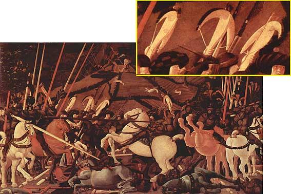 """Dettaglio dalla """"Battaglia di San Romano"""", Paolo Uccello 1456. Si vede perfettamente la postura della mano sinistra"""